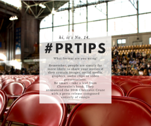 PR Tips: hi, it's No. 14.
